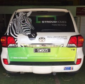 Tail Gate of Stroud Homes Vehicle